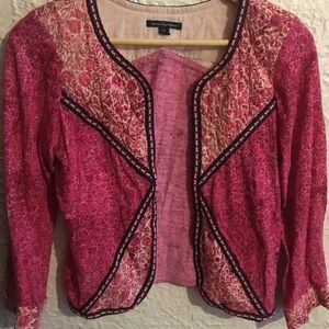 AMERICAN EAGLE Pink Floral Jacket Embroidery Open